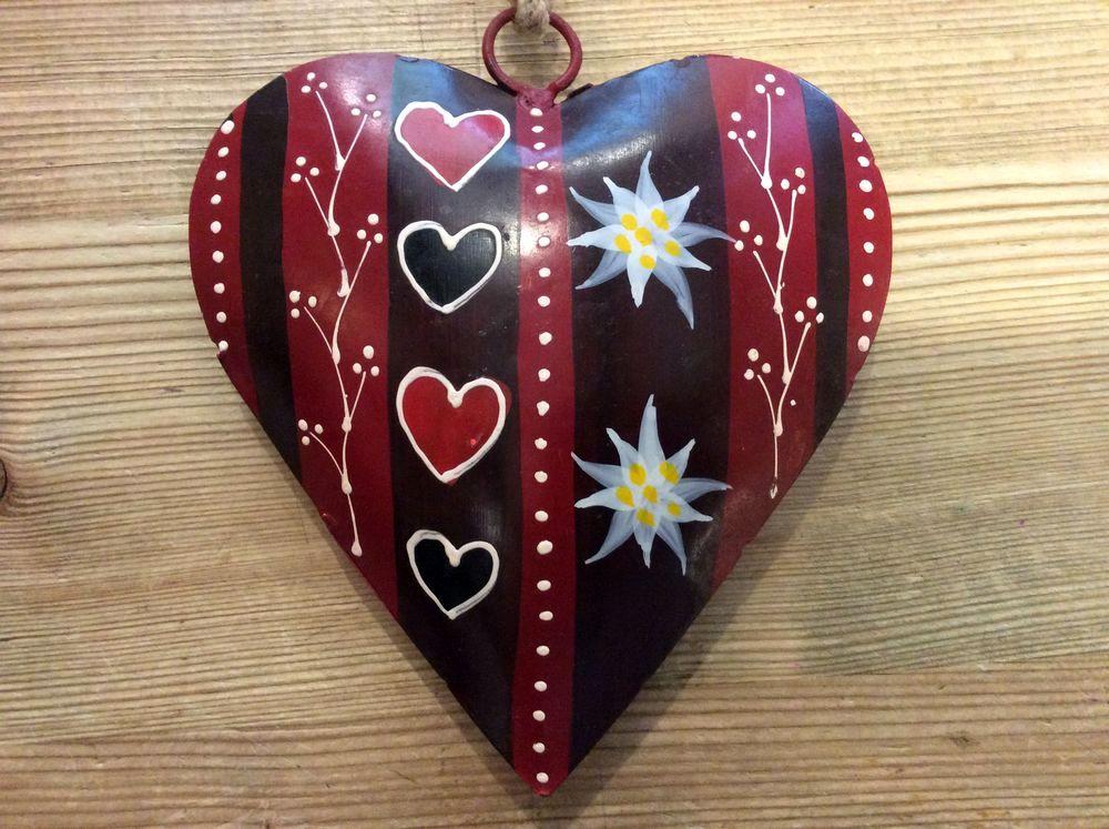 Coeur rouge bomb et d cor d 39 edelweiss m tal 16x16x4 cm - Decoration coeur rouge ...