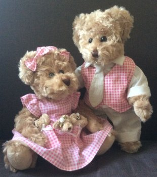 Peluche Couple oursone et ours, vêtements Vichy rouge, polyester, 30 cm
